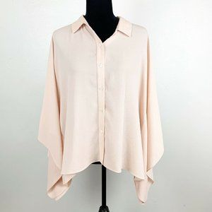 Vince Camuto Pink Flowy Batwing Button Up Blouse